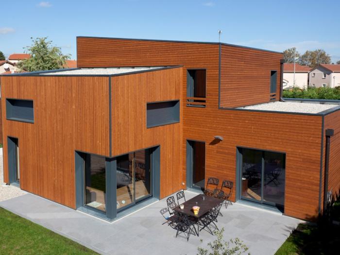 Maison bois contemporaine bbc par ocube architecte dans la for Architecte maison bois contemporaine