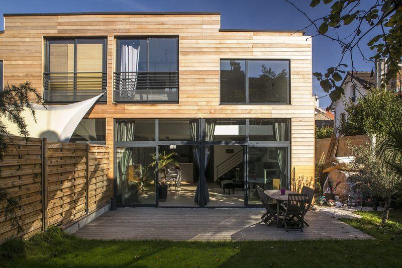 Maisons jumel es en ossature bois par mag architecte for Cout construction maison en bois