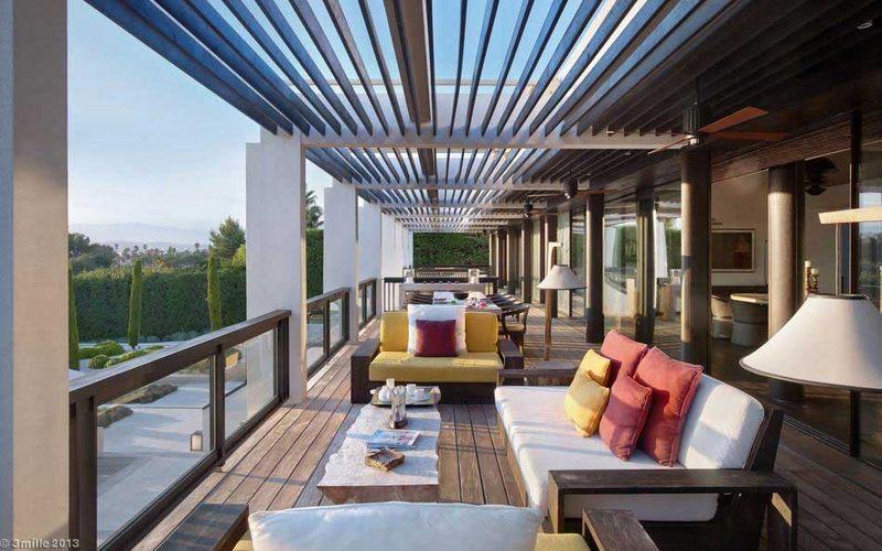 terrasse étage façade - villa location cap d'antibes - France