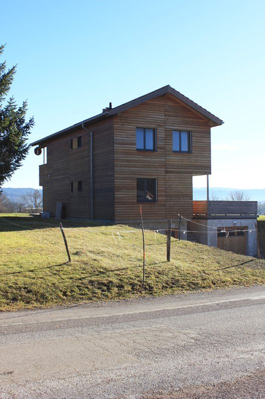 vue façade nord - maison ossature bois par Eric Viprey, Cambiums - Jura - France