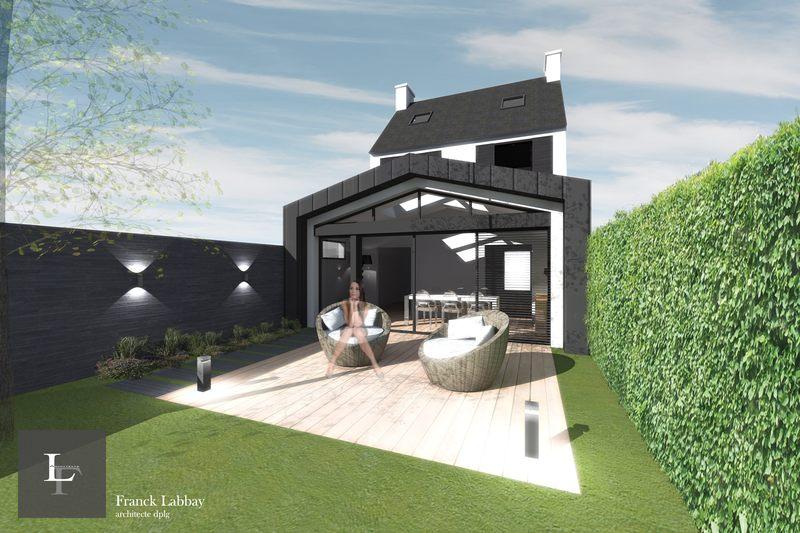 Extension bois par franck labbay architecte morbihan for Projet maison