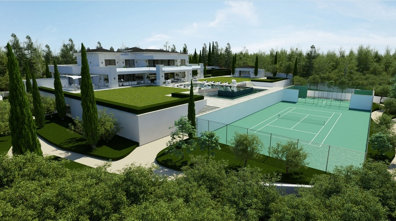 private-tennis-court - luxueuse villa par Ark Architects - San Roque, Espagne