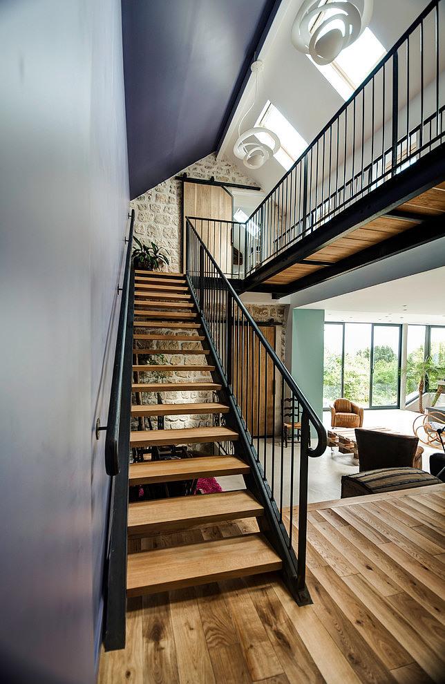 escalier bois et métal - extension contemporaine par Jean-Philippe ...