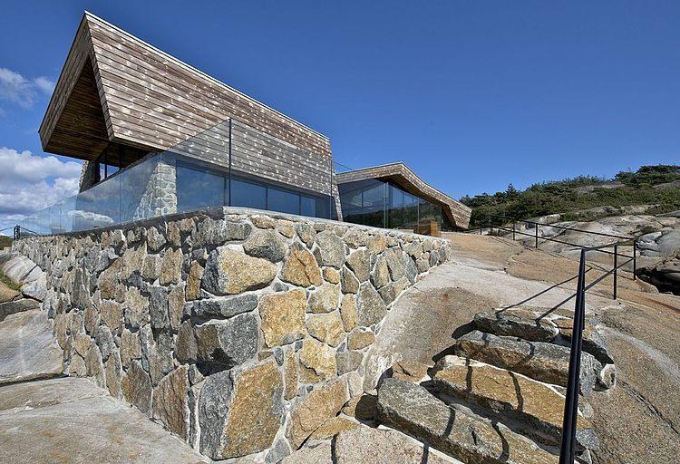 maison bois et pierre contemporaine par jarmund et vigsnaes architects vestfold norv ge. Black Bedroom Furniture Sets. Home Design Ideas