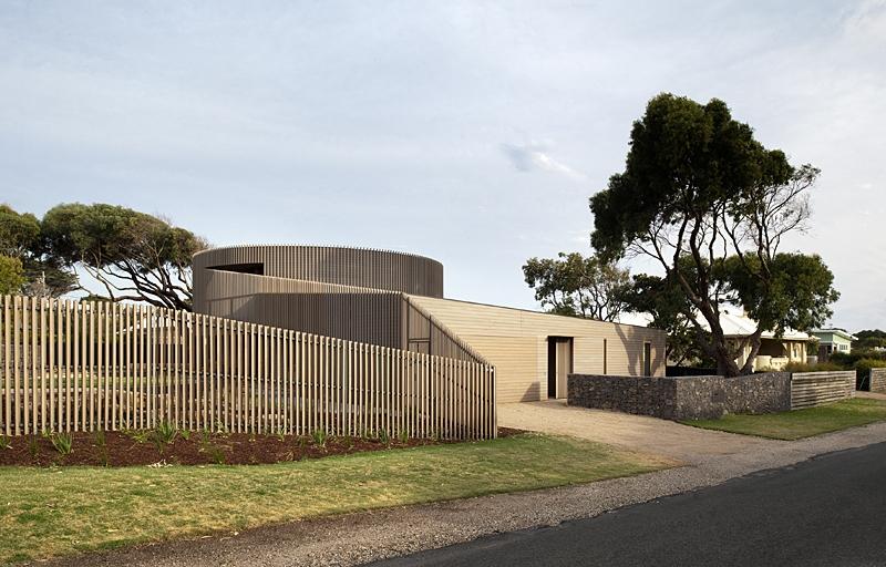 façade entrée - maison bois contemporaine par Jackson Clements Burrows - Barwon Heads - Photos John Gollings