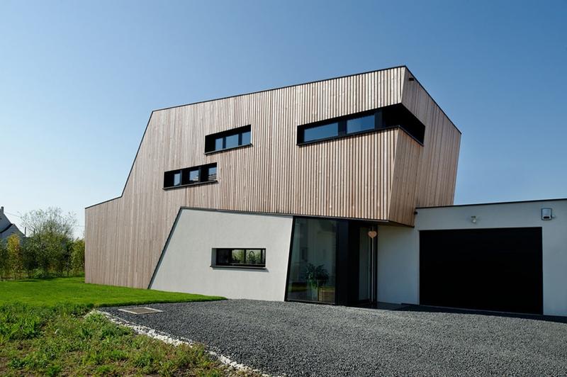 façade entrée - Maison bois béton par Ideaa architectures - Colmar, France - Photo  Alain-Marc Oberlé
