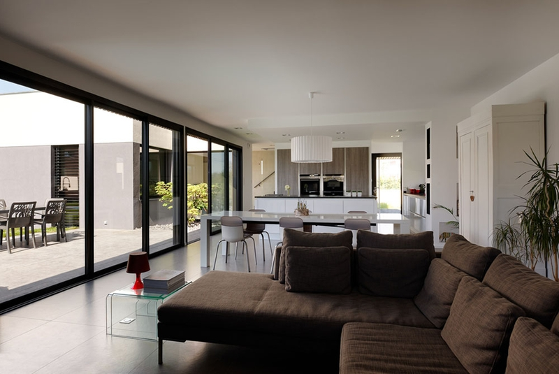 Maison contemporaine et extension bois par ideaa for Extension piece maison