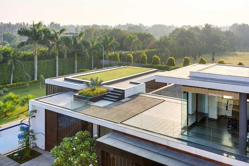 Toiture terrasse center court villa par dada partners - La contemporaine villa k dans les collines de nagano au japon ...