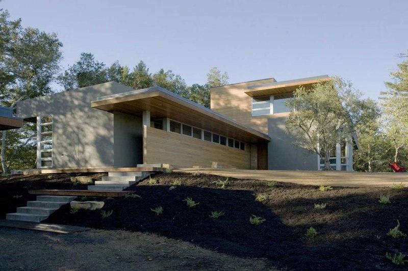 façade entrée - HudsonPanos Residence par Swatt & Miers Architects - Healdsburg, Usa