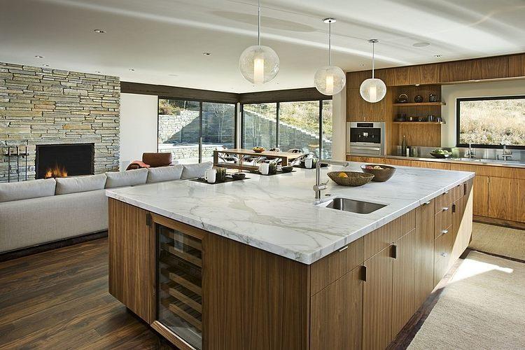 Maison bois et pierre contemporaine par marmol radziner for Cuisine bois et pierre