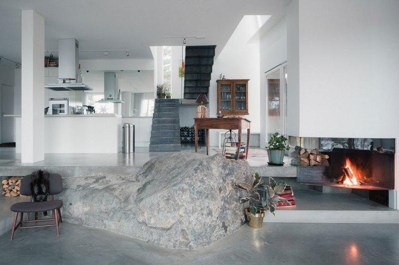 pierre centrale - maison bois contemporaine par Gabriel Minguez - Ingarö, Suède