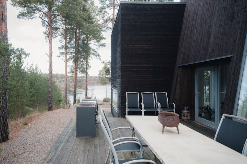 Decoration Cuisine Verriere : Magnifique maison côtière contemporaine en bois proche de Stockholm
