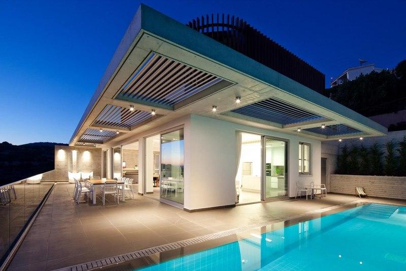 façade piscine nuit - Prodromos and Desi Residence par VARDAstudio - Paphos, Chypre