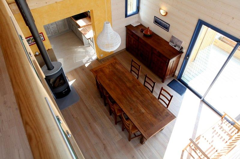 séjour - Maison bois bioclimatique par Patrice Bideau architecte