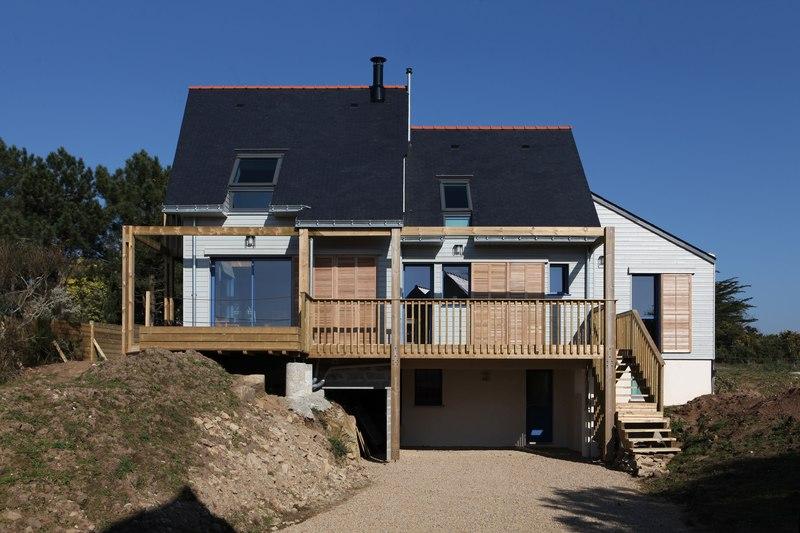 façade sud - Maison bois bioclimatique par Patrice Bideau architecte