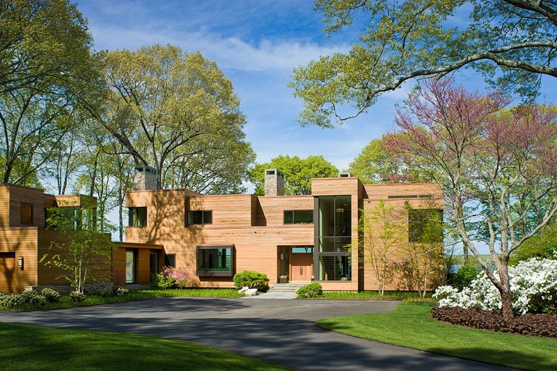façade cour entrée - Secluded contemporary home par Point One Architects - Essex, Usa