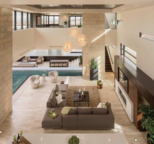 Salon chemin e design villa contemporaine par blue for Villa luxe usa