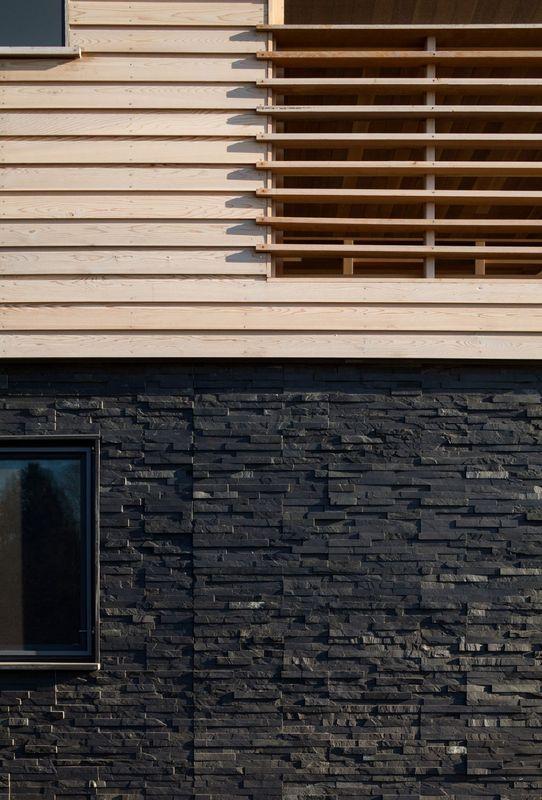 superbe maison contemporaine avec d co bardage bois et pierres aux usa construire tendance. Black Bedroom Furniture Sets. Home Design Ideas