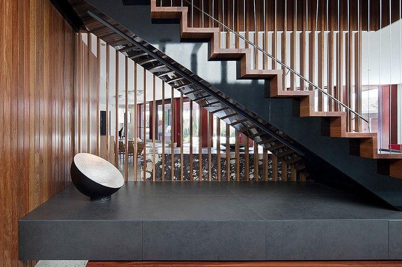Maison contemporaine bois b ton par bg architecture for Escalier maison contemporaine