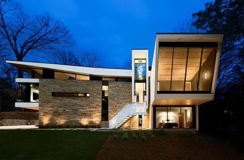 Wing roofed home par staffan svenson architect atlanta Contemporary homes atlanta