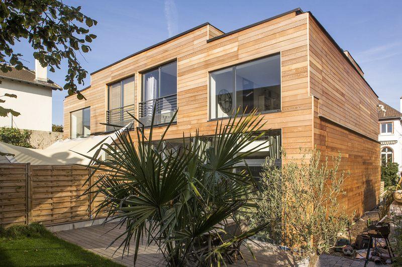 Maisons jumel es en ossature bois par mag architecte cachan 94 france - Photo terrasse maison ...