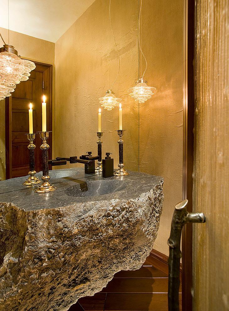 Lavabo taill dans la pierre mountaintop residence par - La residence kitchel par boora architects ...