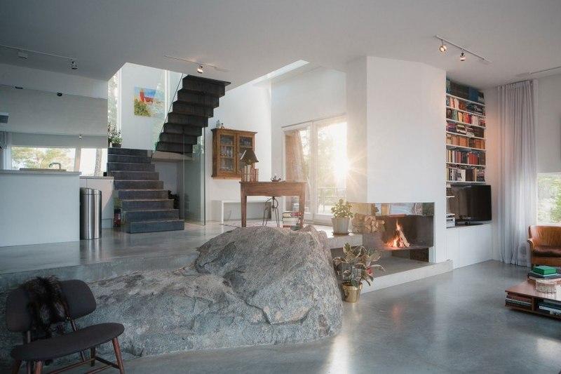 Decoration Cuisine Verriere : pierre dans pièce de vie  maison bois contemporaine par Gabriel
