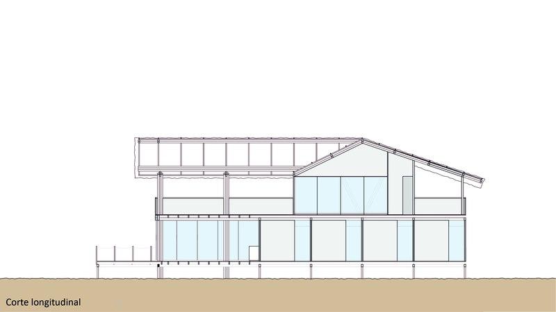 Plan coupe longitudinale house in playa del carmen par yupana arquitectos chincha alta