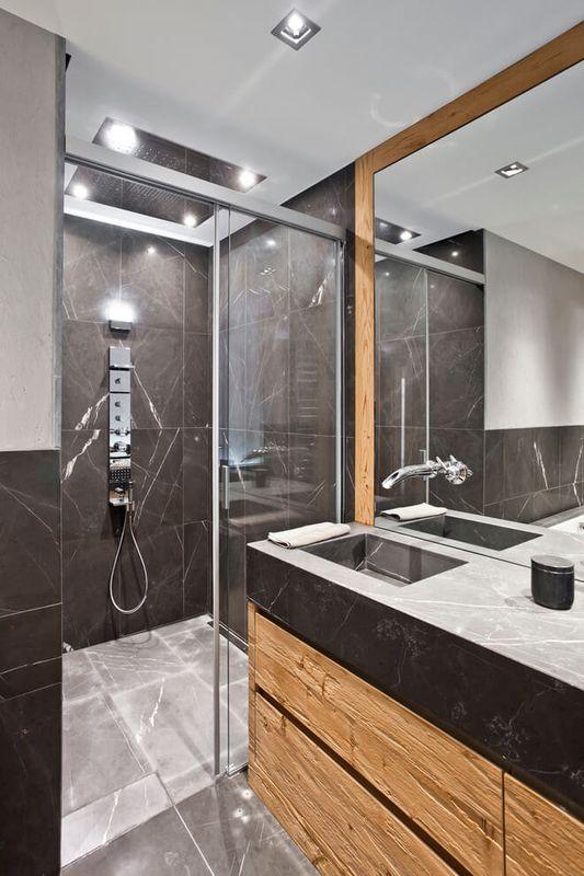 Impressionnant chalet bois contemporain avec appartements for Salle de bain hotel 5 etoiles