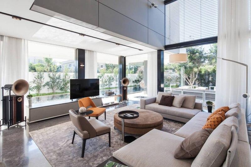 Maison contemporaine b ton par ron aviv tel aviv isra l - Salon de maison moderne ...