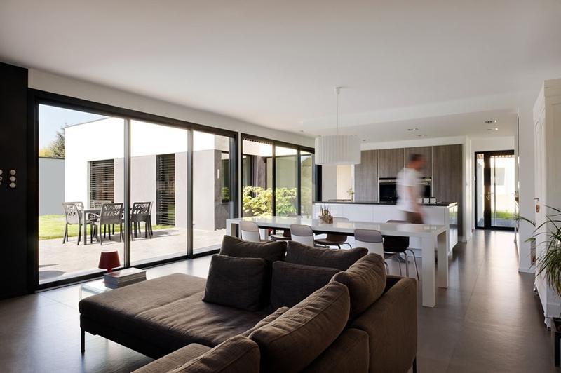 Maison contemporaine et extension bois par ideaa for Extension maison lotissement
