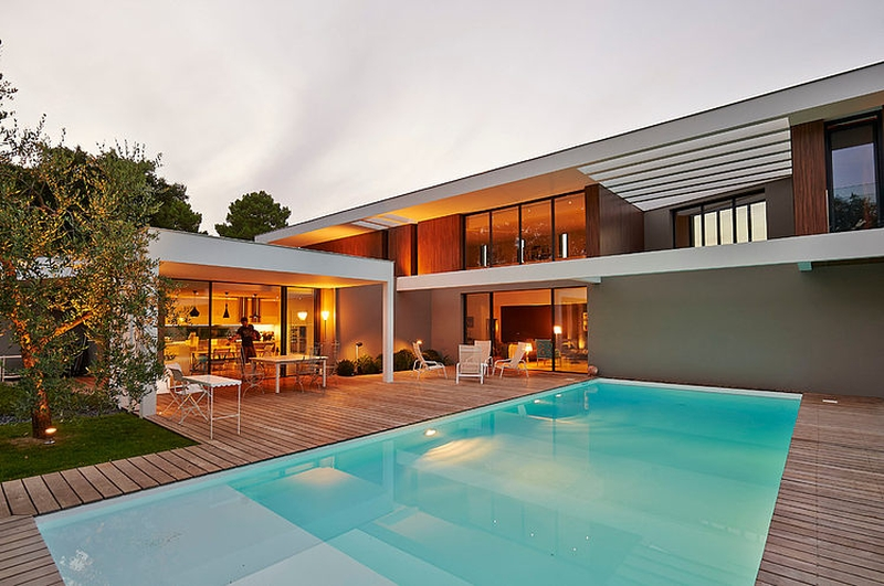 Ha 10 villa contemporaine par hybre architecte en gironde for Piscine de bordeaux