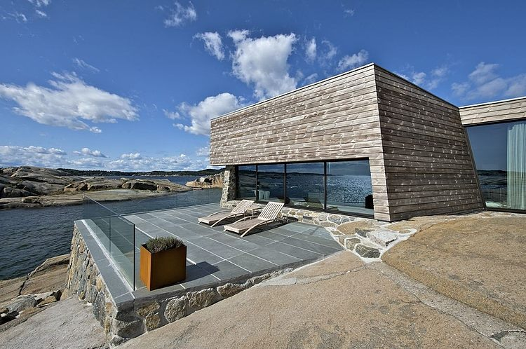 terrasse maison bois et pierre par jarmund et vigsnaes architects vestfold norv ge. Black Bedroom Furniture Sets. Home Design Ideas