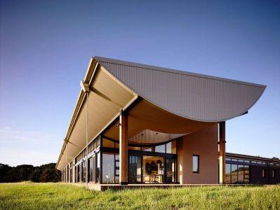 Baie Vitrée Entrée & Toit En Arc De Cercle - Flinders-House Par Peter Schaad Design, Australie