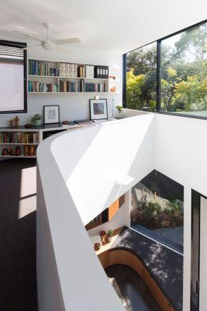 Bibliothèque é Grande Ouverture Vitrée - Unfurled-House Par Christopher Polly Architect - Sydney, Australie