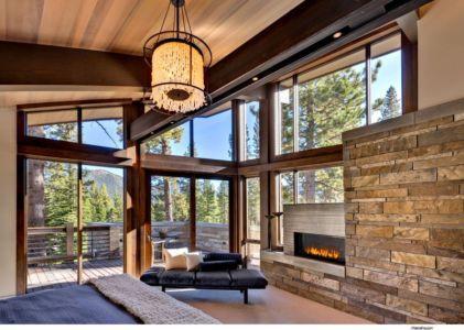 Chambre Cheminée - Valhalla Résidence par RKD Architects - Californie, USA