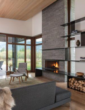 Cheminée - Maison Contemporaine Bois par Carney Logan Burke Architects - Wilson, Usa