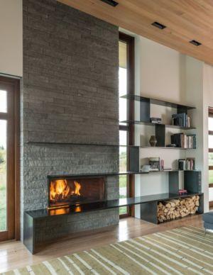 Cheminée Salon - Maison Contemporaine Bois par Carney Logan Burke Architects - Wilson, Usa