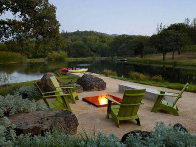 Cheminée Extérieure Ouverte & étang - Home-Sonoma Par Turnbull Griffin Haesloop - Californie, USA