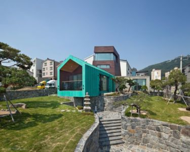 Espace Aménagé En Pierres - Tower-House-maison-x Par ON Architecture - Gimhae, Coree Du Sud