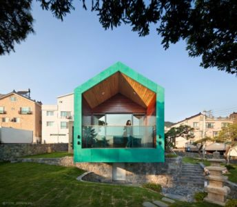 Façade Balcon - Tower-House-maison-x Par ON Architecture - Gimhae, Coree Du Sud