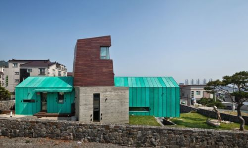 Façade Forme X - Tower-House-maison-x Par ON Architecture - Gimhae, Coree Du Sud