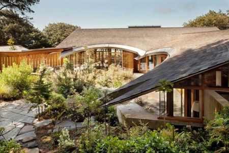 Façade Jardin & Vue Toiture En U - Singing Sands Par Don Tankersley - Cannon Beach, USA