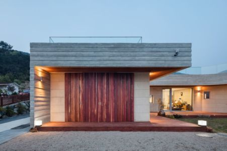 Façade Terrasse Illuminée - House-Dongmang Par 2m2 Architects - Geoje, Coree Du Sud