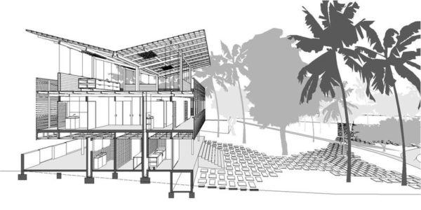Plan 2D - Casa Tropical par Camarim - Mundau, Brézil