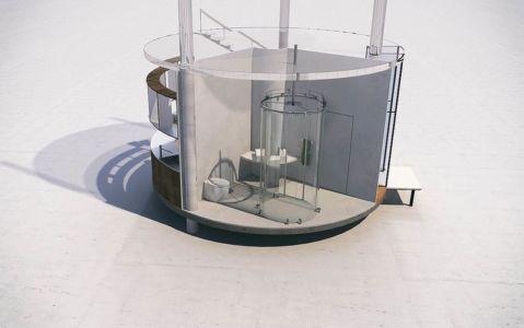 Plan 3D douche - Glass-House par Aibek-Almassov - Kazakhstan