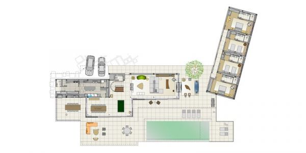 Plan 2D Maison En L - Fazenda-Boa-Vista Par Fernanda Marques Arquitetos - Porto Feliz, Bresil