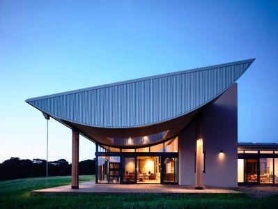 Porte Vitrée Entrée Illuminée - Flinders-House Par Peter Schaad Design, Australie