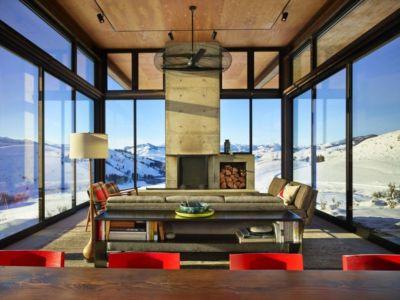 Salon-séjour & Cheminée - Studhorse Par Olson Kundig - Washington, Etats-Unis