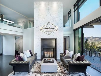 Salon & Cheminée - Arizona-Contemporary Par Luster Custom Homes - Arizona, USA